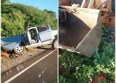 Grave acidente envolvendo caminhonete e retroescavadeira é registrado na BA-148 entre Brumado e Livramento de Nossa Senhora